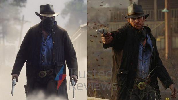 Imagen cortesía de Trusted Reviews. Comparativa entre una imagen de Arthur Morgan en el tráiler y otra que ellos poseen gracias a esta filtración.