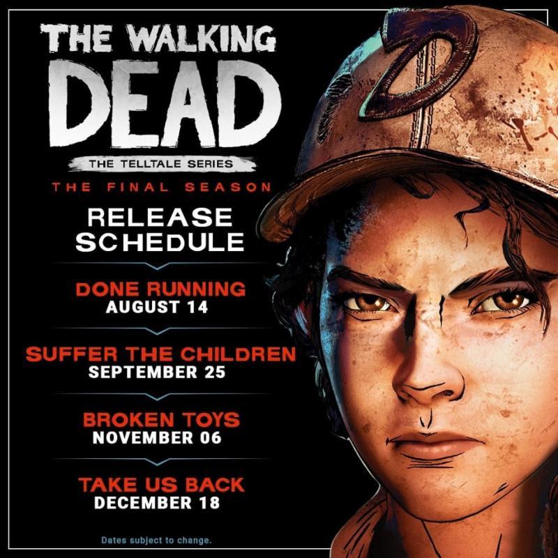 Walking Dead: The Final Season pone fecha a todos sus episodios