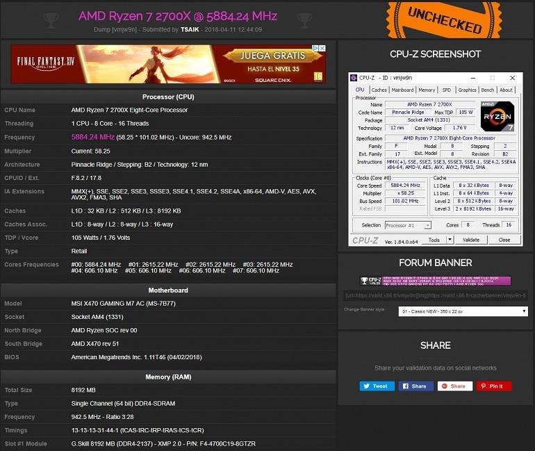 Alcanzados los 5,88 GHz con los AMD Ryzen 7 2700X y Ryzen 5 2600X