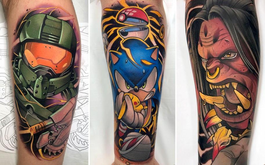 Los tatuajes de Yeray Pérez se caracterizan por el detalle y un fuerte uso del color.