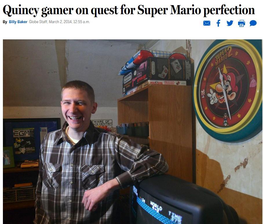 La popularidad de Super Mario Bros. ha ayudado a que la prensa generalista también se haga eco de los récords de sus héroes locales. AndrewG1990 fue un habitual en los medios.  FOTO: Boston Globe