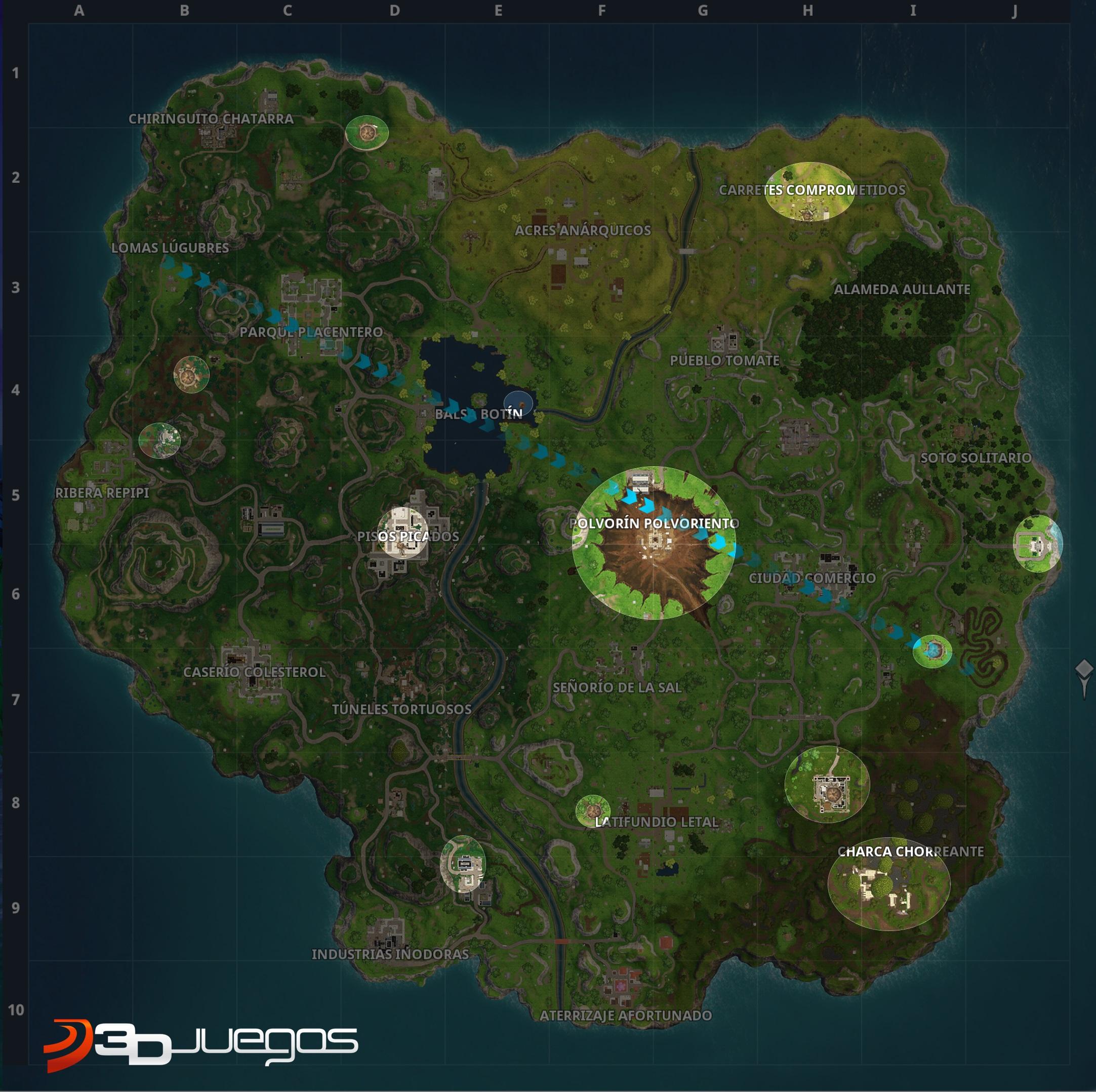 Mapa Fortnite Temporada 5 Español.Conoce Todas Las Zonas Nuevas Y Cambios En El Mapa De Fortnite